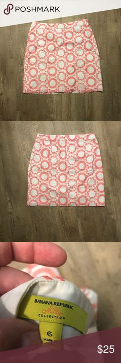 Banana Republic x Milly White & Pink Skirt Cute Banana Republic with Milly collaboration skirt. Size 6, great condition. Banana Republic Skirts