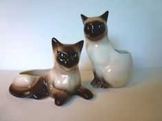 Two Vintage SIAMESE CAT PLANTERS // Made in by CALIFORNIAseabreeze, $39.00