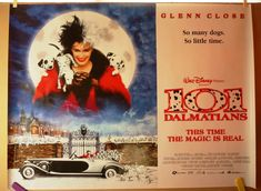 101 Dalmatians   British Quad Original Movie Poster   Glenn Close   DISNEY by MoviePostersAndMore on Etsy