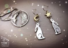 handmade and recycled silver Georgian shilling hare earrings made in Cambridge - hairygrowler