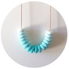 Candy Cane  Aqua Handmade Polymer Clay Necklace by palindromeandco