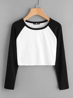 Shop Two Tone Raglan Sleeve Crop Tee online. SheIn offers Two Tone Raglan Sleeve Crop Tee & more to fit your fashionable needs. Girls Fashion Clothes, Teen Fashion Outfits, Fashion Dresses, Women's Fashion, Fashion Black, Teen Winter Outfits, Ladies Fashion, Fashion Ideas, Vintage Fashion