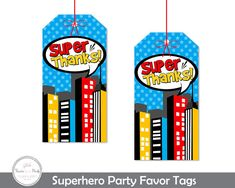 Superhero Party Favor Tags Superhero Thank by ForeverYourPrints