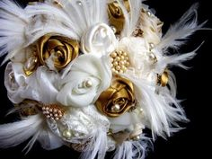 white and gold non floral bouquet substitute the gold fabric with blue