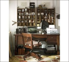 Rustic/Farmhouse style home office There is just something about apothecary style cubbies. Home Office Design, Home Office Decor, House Design, Office Designs, Office Ideas, Vintage Office Decor, Desk Office, Office Setup, Loft Design