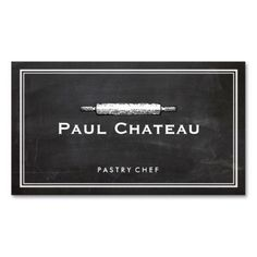 Cool Pastry Chef Rolling Pin Baker, Bakery Logo #catering #chef #businesscards