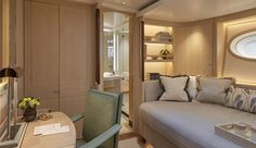 """One of the three guest staterooms aboard Elfje is considered a """"flex cabin."""" It caters to friends or family of the owner, or to a special instructor. It can even accommodate a pilot or extra crewmember when warranted."""