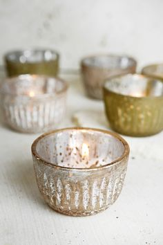 6  Frosted Blush Mercury Glass Votive Holders 2 Colors   Rose & Olive