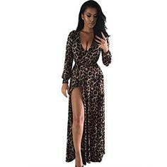 Orangeskycn Women V-Neck Long Sleeve Dress Nightclub Leopard Party Dresses (L) ** You can find more details by visiting the image link.