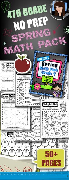 4th Grade No Prep Spring Math Pack..50+ Printables!