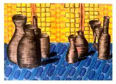 Stillleben mit runden Gefäßen - Schattieren auf Zeitungspapier (Schülerarbeit)