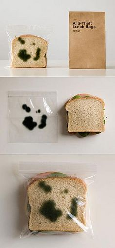 Anti-Theft Lunch Bags - zipper bags that have green splotches printed on both sides | packaging | Design: the. |