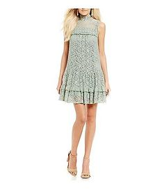 Jodi Kristopher Mock Neck Lace Shift Dress DIllards 69.00
