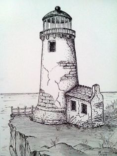 Old & Abandoned lighthouse Pencil Art Drawings, Art Drawings Sketches, Cartoon Drawings, Beach Sketches, Cartoon Faces, Art Illustrations, Lighthouse Drawing, Drawing Sites, Landscape Drawings
