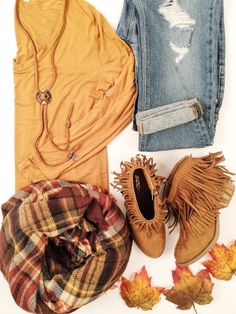 therollinj.com Essential Long Sleeve Top, cozy warm blanket scarf, fringe booties. Fall outfit to a T