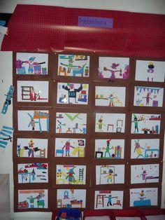 Map juf Ineke: Het grote Pietenhuis. Iedere leerling heeft de inhoud van een kamer getekend, met elkaar is het een heel groepswerk geworden.