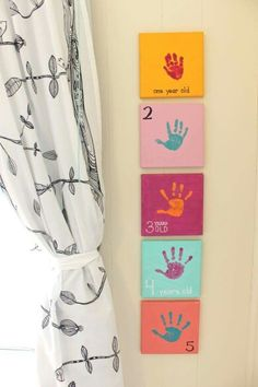 What a lovely keepsake!   ONE HANDPRINT FOR EACH YEAR:  Adorable decor and art project!  http://mamapapabubba.com/2015/10/06/yearly-handprint-canvas-year-5