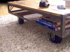 Vintage Industrial Steel Upcycled Pallet Coffee Table