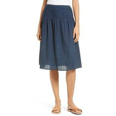 Women's The Great. The Afternoon Skirt ($295) via Polyvore featuring skirts, navy, navy skirt, calf length skirts, blue midi skirt, midi skirt and blue skirt