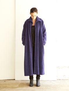 Jean Muir of London 1979 Vintage Purple Wool Blend Coat