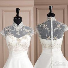 Vintage High Neck Cap Sleeve White Tulle Lace Beaded Bridal Bolero Wedding Dress Jacket