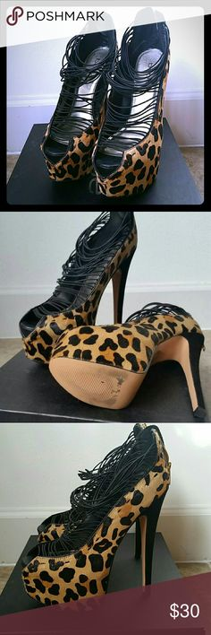 """Bebe Hadley Shoe (6.75"""" heel w/ 2"""" platform) Only tried on, never worn.  Has box, but box says size 7 (they are a size 8).  Calfskin leopard print. bebe Shoes Heels"""