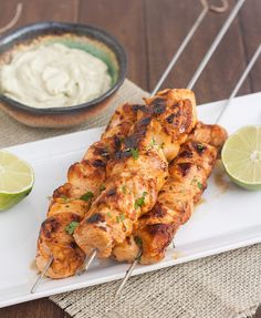 Chipotle Chicken Kebabs with Avocado Cream Sauce by traceysculinaryadventures  #Kebabs #Chicken #Chipotle #Avocado
