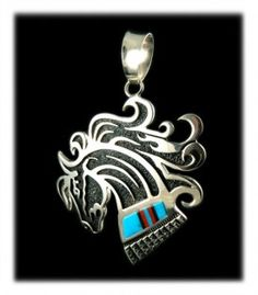 Majestic Horse Turquoise Inlay Pendant by famed Native American artisan Richard Begay