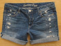 AMERICAN EAGLE denim Shorts Jean 10 Cut Off Destructed Distressed Frayed rollup