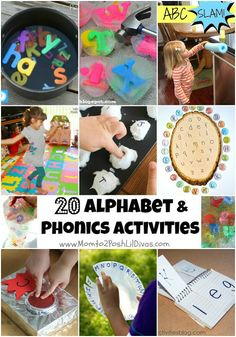 20 Alphabet and Phonics Activities for kids. Fun, hands-on and active ways to foster letter recognition, letter sounds and phonemic awareness.