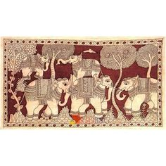 Largest Online Marketplace in India Ancient Indian Art, Indian Folk Art, Elephant Design, Elephant Art, Indian Elephant, Cotton Painting, Fabric Painting, Kalamkari Designs, Kalamkari Painting