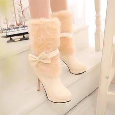 White High Heel Boots, Cute High Heels, Slip On Boots, Heeled Boots, Bootie Boots, Cute Boots, Sexy Boots, Winter Fashion Boots, Winter Boots