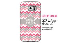 Monogram Samsung Galaxy S6 Edge case pink and grey by EpigramCases