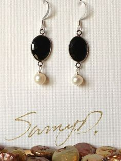 Onyx and Freshwater Pearl Earrings by SunnyDsMarket on Etsy, $27.00