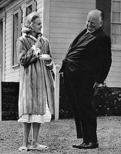 """Tippi Hedren with Alfred Hitchcock on the set of """"The Birds"""" (1963)"""