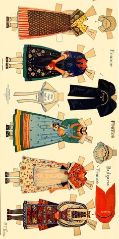 Peasant Costumes of Europe * For lots of free Christmas paper dolls… Paper Toys, Paper Crafts, Arts And Crafts, Paper Doll House, Folk Clothing, Paper People, Thinking Day, Vintage Paper Dolls, Wonderland