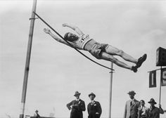 Pierre Lewden, a French jumper, clears 1.95 metres at the 1924 Paris Games.  (Bettmann/Corbis)