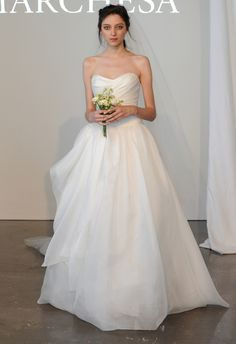 Strapless Silk Gauze Ball Gown | Marchesa Spring 2015 | Kurt Wilberding | The Knot Blog