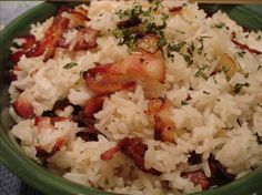 Rice Cooker Bacon and Onion Rice. Everything is better with bacon!
