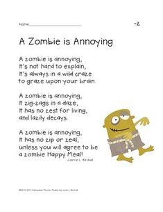 Zombie phonics poem for Halloween (letter z)
