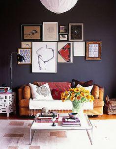 black walls in living room, corduroy couch in mustard, me davis design, blog