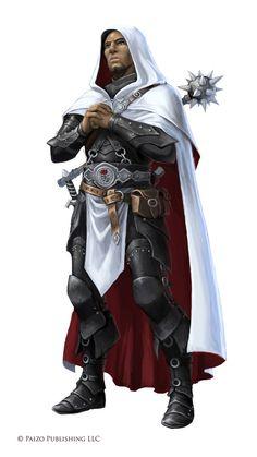Clérigo humano, armadura, maça pesada, espada curta e magia. Dave the white robed cleric