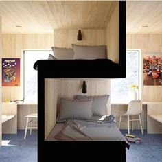 Sibling bedroom Your thoughts about this idea? Bunk Bed Designs, Small Bedroom Designs, Bedroom Small, Modern Interior Design, Home Design, Design Ideas, Interior Ideas, Design Projects, Design Inspiration