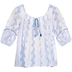 Thierry Colson Evita feather-print cotton top ($177) ❤ liked on Polyvore featuring tops, blue multi, blue top, peasant tops, blue print top, feather top and thierry colson