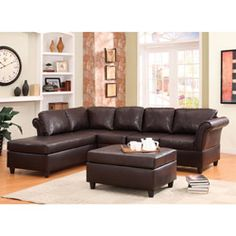 @Overstock - This sectional sofa and ottoman set from the Jasper Collection makes a versatile choice for a number of living room settings. This set features solid Asian wood construction with bi-cast vinyl in a dark brown color.http://www.overstock.com/Home-Garden/Jasper-Sectional-Sofa-and-Ottoman-Set/5963580/product.html?CID=214117 $1,123.99