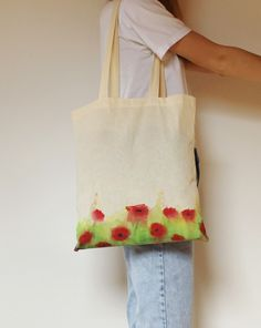 Poppy flower tote bag, PATTERNS on BOTH SIDES! With long handles, cool summer accessoire/ hand-painted handbag/ handmade/ selfmade design/ market bag Painted Bags, Hand Painted, Design Market, Bag Patterns, Market Bag, Handmade Design, Tote Bags, Poppy, Totes