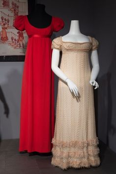 """hoopskirtsociety: """"Dearborn Historical Museum gowns   … tricot, pink fringe and cord, circa 1810, England, """""""