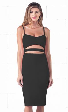 Indie XO Seductive Tease Black Spaghetti Strap V Neck Cut Out Waist Zip Back Bodycon Midi Dress - Just Ours!