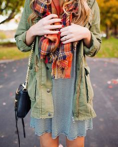 Great colors here! Good combo for those chilly late summer and early fall nights. I'd totally wear this with Chucks!