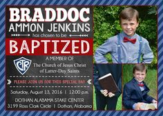 Braddocs Baptism: It is great to be Eight! lds latter day saint mormon baptism picture and invites ideas. Celebrate your childs big day.